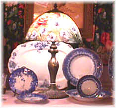 Antique Shoppe - Flow Blue China and Lamp